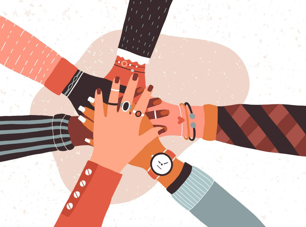 diversity and inclusion teamwork hands in